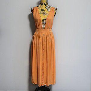 Topshop Pinafore Royal Orange Maxi Dress 4-6